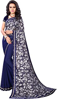 Shonaya Women's Banglori Silk Border Work Saree with Unstitched Blouse Piece (Blue_Free Size)