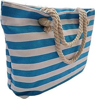 2e1462ba9d8a Borsa Shopper Grande Da Spiaggia In Tela Con Chiusura Cerniera Zip Donna  Bambina Da Mare Stampa