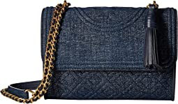 Tory Burch Fleming Denim Suede Small Convertible Shoulder Bag