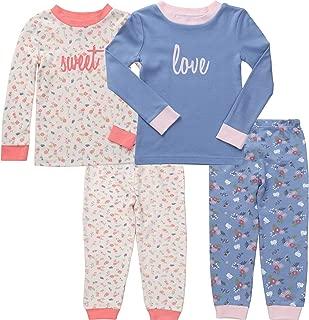 Asher & Olivia Pajamas for Girls 4 Pc Cotton Pj Set for Baby Toddler Little Kid