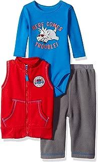 BON BEBE Baby Boys' 3 Piece Microfleece Vest and Pant Set with Side Snap Bodysuit