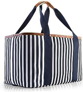 Selinchen® - Einkaufskorb   Hochwertige Einkaufstasche faltbar und mit PU-Ledergriff   Ideal als eleganter Picknickkorb, S...