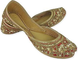 Fulkari Women's Soft Leather Bite and Pinch Free Broom Gold Women's Flat Jutti Ethnic Shoe