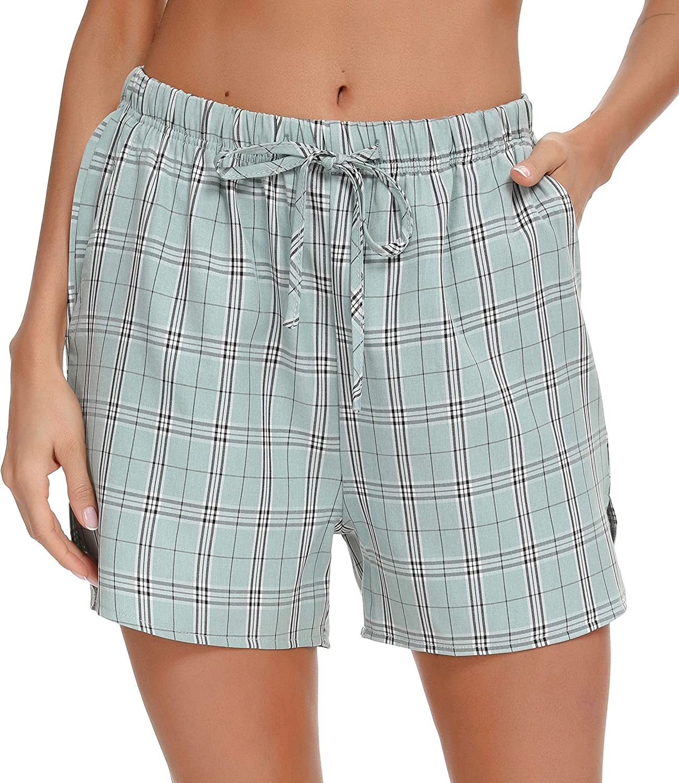 Lovasy Women Pajama Bottoms Soft Plaid Sleep Shorts Cotton Short Lounge Pants with Pockets (Light Green, L)