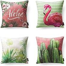 "Phantoscope Set of 4 Tropical Series Birds Cactus Throw Pillow Case Cushion Cover 18"" x 18"" 45cm x 45cm"