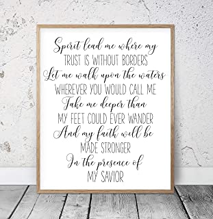 Spirit Lead Me Where My Trust Is Without Borders Oceans Lyrics Wall Art Christian Gifts Religious Art Nursery Bible Verse Girls Room Decor Wood Pallet Design Sign Plaque with Frame wooden sign