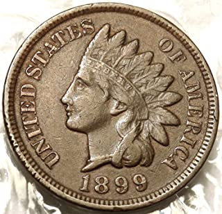 1899 U.S. Indian Head Cent Full LIBERTY Full Rim 1c Fine to XF