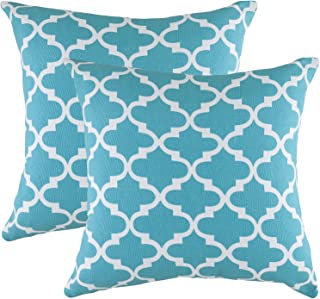TreeWool Decorative Square Throw Pillowcases Set Trellis Accent 100% Cotton Cushion Cases Pillow Covers (22 x 22 Inches / 55 x 55 cm; Turquoise & White) - Pack of 2