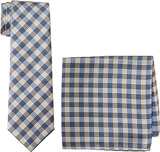 Men's Plaid Tie & Pocket Square Set