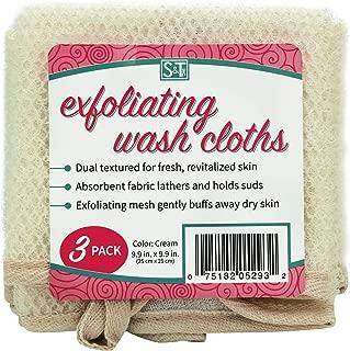 "S&T Body Exfoliating Cloths S&T 529301 Dual-Sided Exfoliating Wash Cloths - 9.9"" X 9.9"", Cream, 3pk 9.9"" x 9.9"""