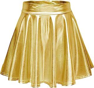 Urban CoCo Women's Metallic Look Pleated Mini Skater Skirt