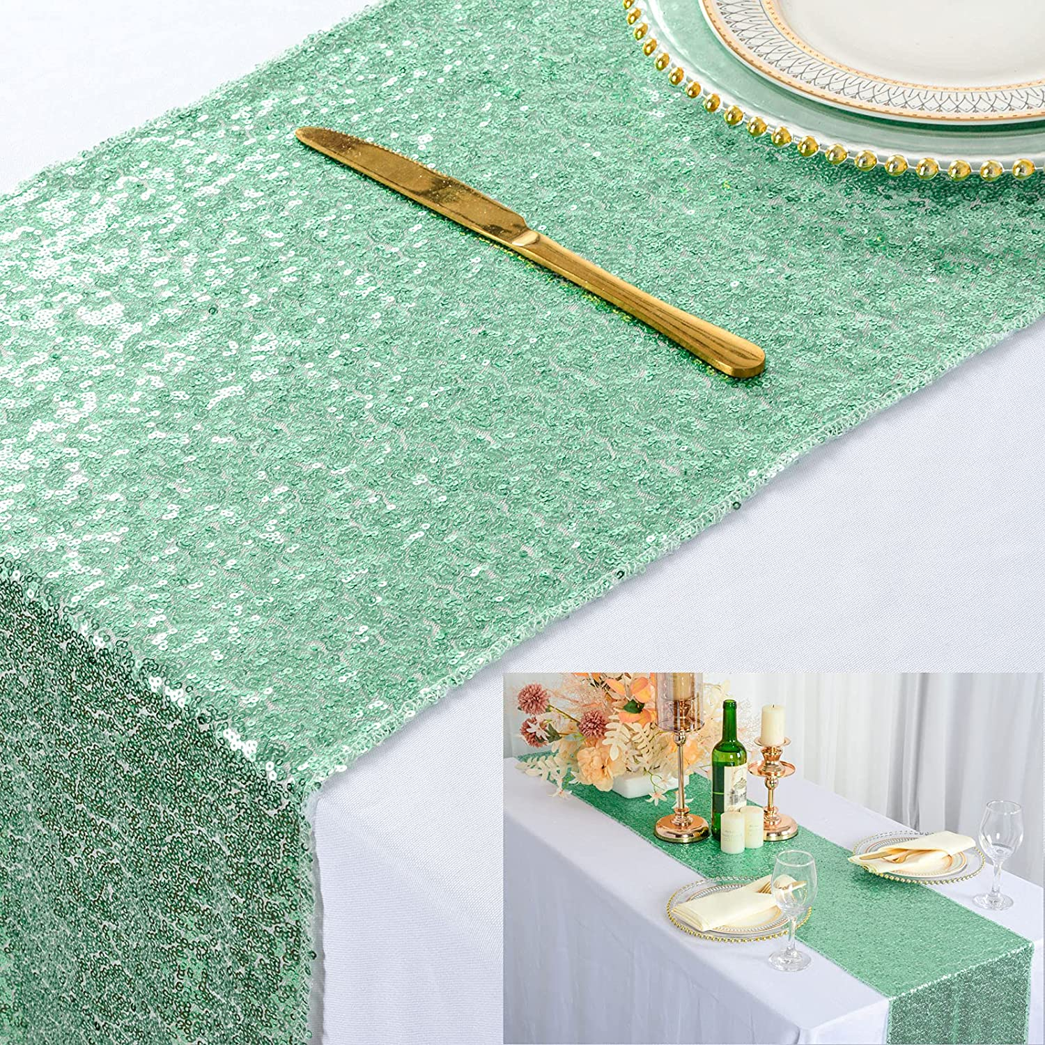 ShinyBeauty 13in X 108in Sequin Popular popular Green Factory outlet Runners Table Mint