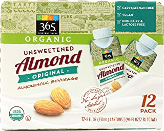 365 Everyday Value, Organic Almond Milk, Original Flavor, Unsweetened, 8 fl oz, 12 pk