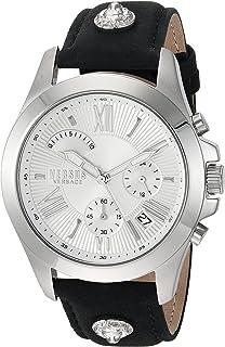 Versus by Versace Men's Chrono Lion Extension Stainless Steel Quartz Watch with Leather Calfskin Strap, Black, 125 (Model: VSPBH1018)
