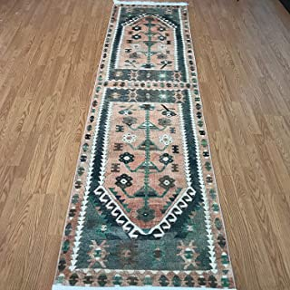 Turkish Kilim Design Runner Rug for Hallway Entryway Kitchen Living Room 3'x10' (Actual 2.6'x10.4) (Denizli)