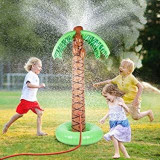 Max Fun Inflatable Palm Tree Sprinkler Water Sprayer Toy Outdoor Summer Fun Water Play Sprinklers Hawaiian Luau Party Supplies Kids Yard Lawn Water Spray Toys Backyard Beach Party Decorations 61