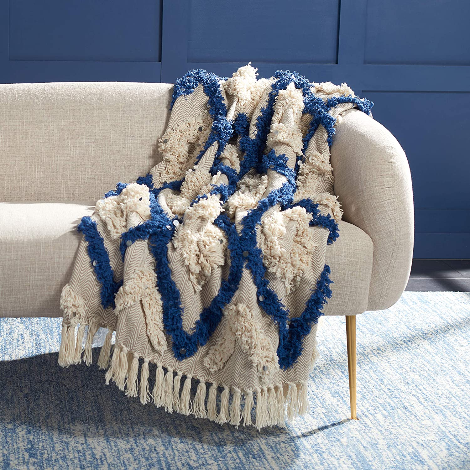 Safavieh Home Collection Lila Max 61% OFF Grace Boho and Fringe Navy Ranking TOP16 5 Beige