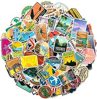 Travel Map Stickers, 150Pcs World Famous Country Regions Logo Vinyl Waterproof Sticker for Skateboard Pad Car Snowboard Bi...