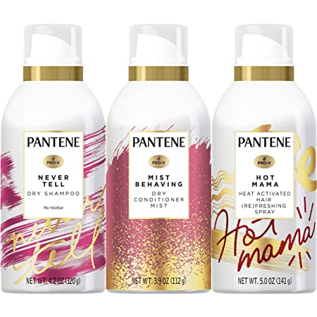 Pantene Dry Shampoo 4.2 Oz, Dry Conditioner 3.9 Oz and Hair Refreshing Spray 5.0 Oz Bundle, For Thin Hair, Paraben and Sulfate Free