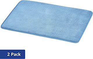 AmazonBasics Textured Memory Foam Bath Mat - Pack of 2, Small, Blue