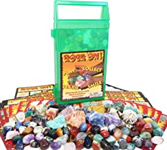 ROCK ON! Geology Game with Rock & Mineral Collection – Collect and Learn with STEM-based Educational Science Kit in Carrying Case - Amethyst, Rhodonite, Selenite Crystal, Unakite and lots more