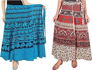 Modern Kart Jaipuri Women's 100% Pure Cotton Wrap Around Skirt Combo of 2 Skirts