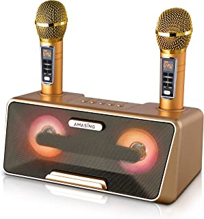 $124 » Portable Karaoke Machine for Adults & Kids: Best Birthday or Holiday Gift w/Bluetooth Speakers, 2 Wireless Microphones, LE...