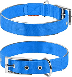 COLLAR Nylon Reflective Dog Adjustable Dog with Metal Buckle - Heavy Duty Small Medium Large Dogs Puppy - Red Blue Black Safety Plus