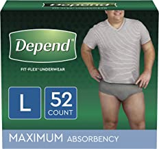 Depend FIT-FLEX Incontinence Underwear for Men, Maximum Absorbency, Disposable, Large, Grey, 52 Count