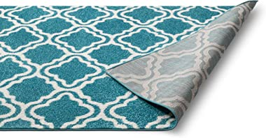 """Well Woven Small Rug Mat Doormat Modern Kids Room Kitchen Rug Calipso Blue 1'8"""" x 2'7"""" Lattice Trellis Accent Area Rug Entry"""