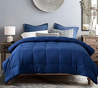 EVOLIVE All Season Pre Washed Soft Microfiber White Goose Down Alternative Comforter (Navy, Full/Queen)