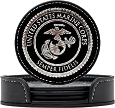 Marine Corps Coasters Set - 4 USMC Drink Coasters for Home, Bar, Office or Car