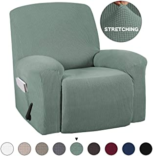Turquoize Stretch Recliner Slipcover with Pockets 1-Pieces Couch Cover Recliner Chair Furniture Cover Highly Fitness for Sturdy Fabric Slipcover, Pets, Kids, Children, Dog, Cat (Recliner, Cyan)