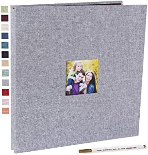 Photo Album Self Adhesive 3x5 4x6 5x7 8.5x11 Magnetic Scrapbook Album DIY Length 11 x Width 10.8 (Inches) with A Metallic Pen