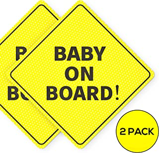 Baby On Board Sticker Sign - Essential for Cars - 2 Pack, 5