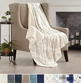 Home Fashion Designs Premium Reversible Two-in-One Sherpa and Sculpted Velvet Plush Luxury Blanket. Fuzzy, Cozy, All-Season Berber Fleece Throw Blanket Brand. (Toile Taupe)