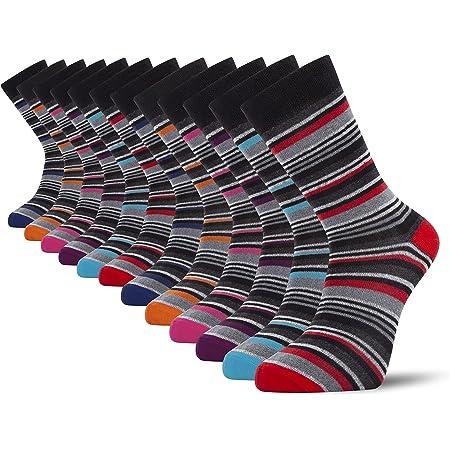 Cob Stallion- Multi-Stripe Men's Socks, Pack of 12 and 6, Multicoloured, Multipack 6-11 UK