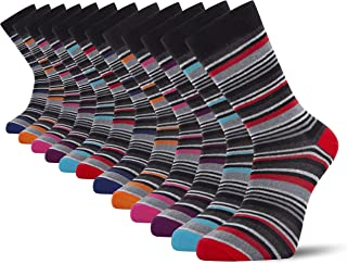 Cob Stallion- Multi-Stripe Men's Socks, Pack of 12 and 6, Multicoloured, Multipack 6-11 UK