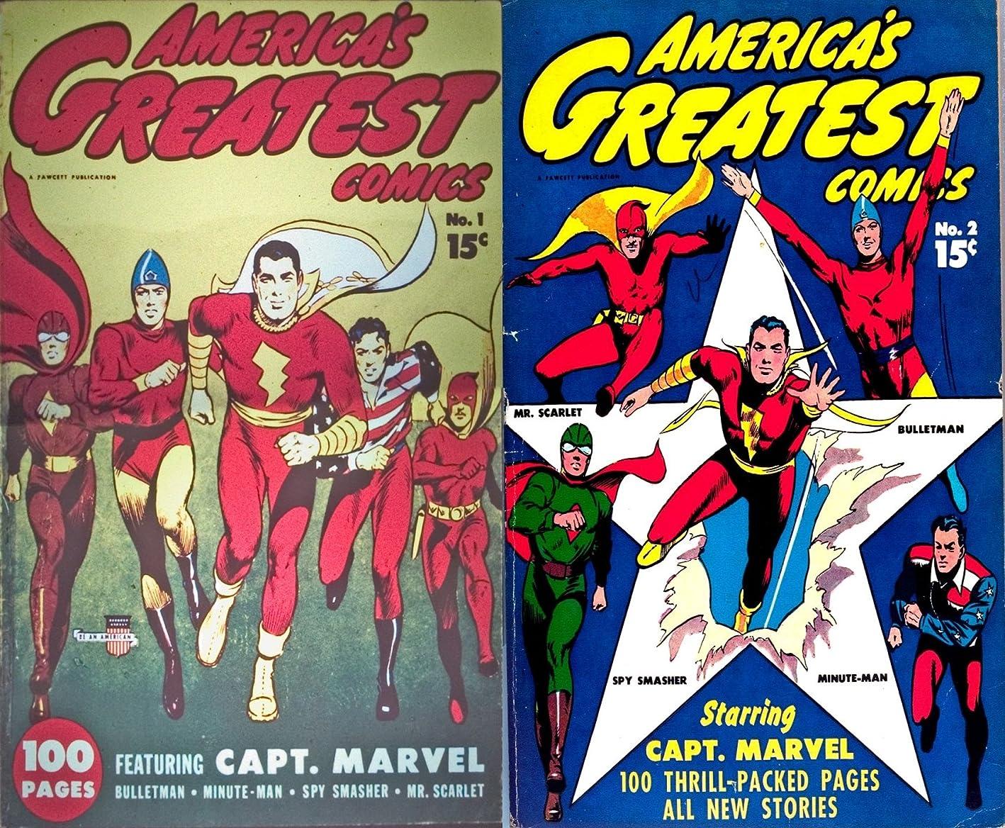 本物学校マイクロフォンAmericas Greatest heroes. Issues 1 and 2. Featuring Captain Marvel, Bulletman, Minute man, Spy smasher, Mr scarlet. Golden Age digital comics Heroes and Heroines. (English Edition)