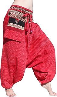 RaanPahMuang - Pantalones de tribu de rayas de algodón con bolsillo para colgar