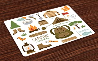 Ambesonne Adventure Place Mats Set of 4, Camping Equipment Sleeping Bag Boots Campfire Shovel Hatchet Log Artwork Print, Washable Fabric Placemats for Dining Table, Standard Size, White Khaki