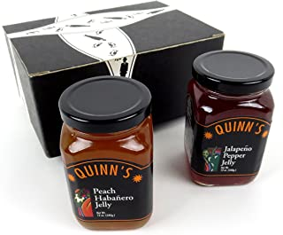 Quinn's Pepper Jelly 2-Flavor Variety: One 12 oz Jar Each of Jalapeño and Peach Habanero in a BlackTie Box (2 Items Total)