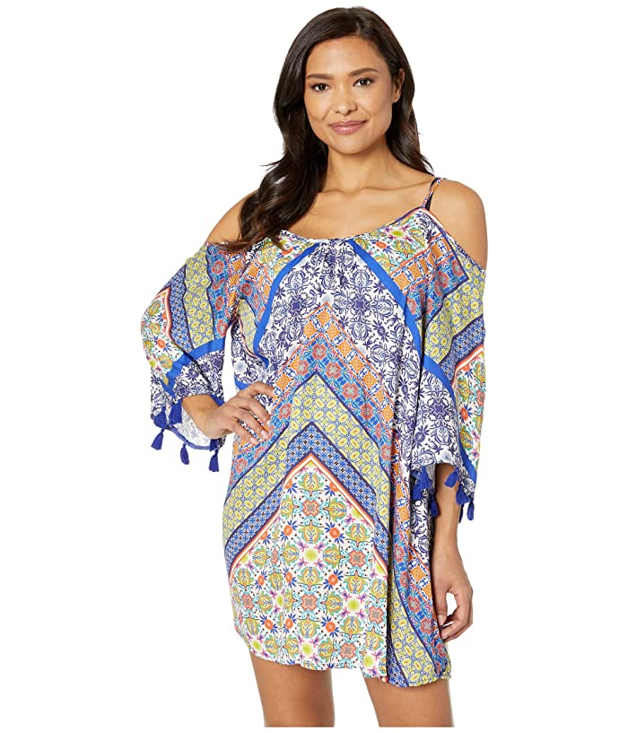 Nanette Lepore Scarf Patchwork Off the Shoulder Tunic Cover-Up (Multicolored) Women