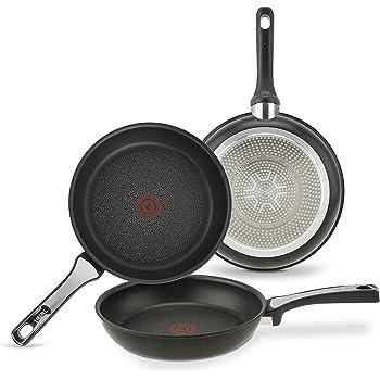 Tefal E215S3A Aroma- Sartenes de aluminio, con Antiadherente para Todo Tipo de Cocinas Incluido Inducción, Negro, 22, 24 y 26 cm, Juego de 3: Amazon.es: Hogar