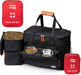 Unique Dog Travel Bag - Dog Traveling Luggage Set for Dogs Accessories - Include Pet First Aid Kit with Case Tags, Elevated Bowl Stand, 2X Food Storage Containers, 2X Dog Stainless Steel Bowls.
