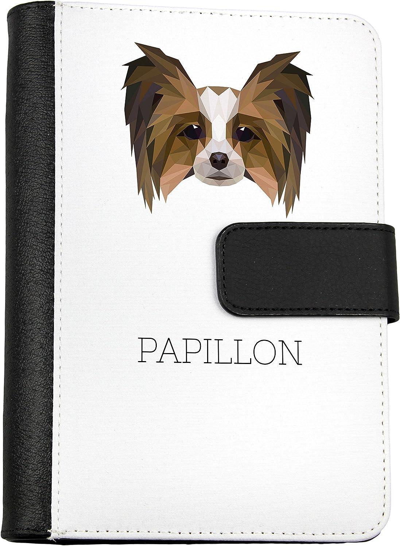 Papillon, Notizbuch von Öko-Leder mit einem Hund, geometrisch B075PWZ625   Outlet Online