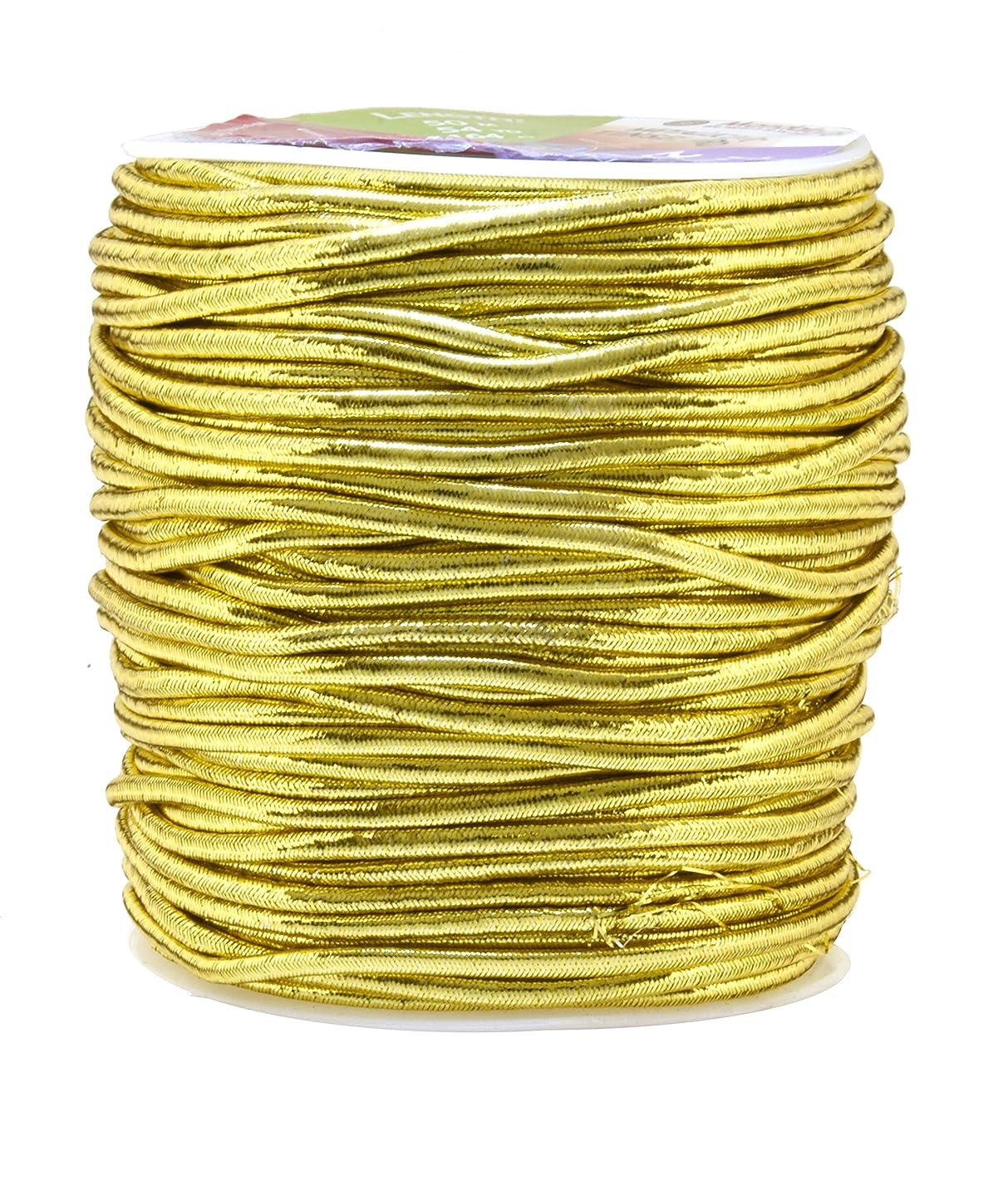 Mandala Crafts 1mm 1.5mm 2.5mm Jewelry Making Gift Wrap Ribbon Stretch Metallic Tinsel Elastic Cord (2.5mm 54 Yards Light Gold)