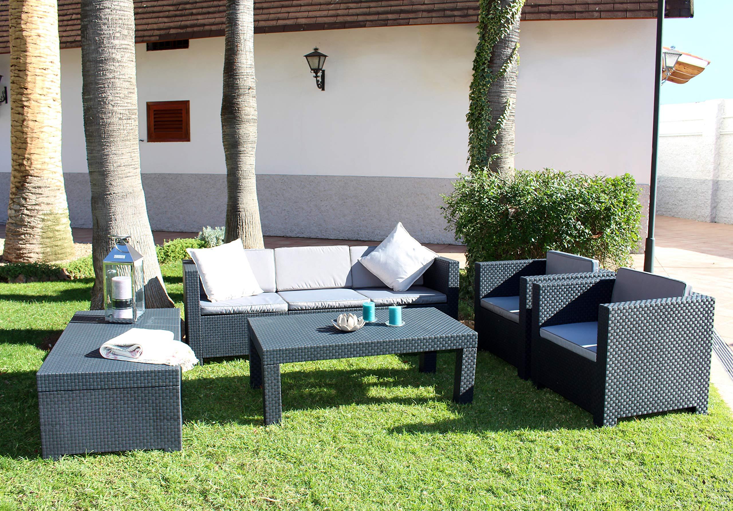 Shaf - Diva Tropea | Set Muebles de Jardín de Color Antracita | Fabricado en España con Materiales Reciclados: Amazon.es: Jardín
