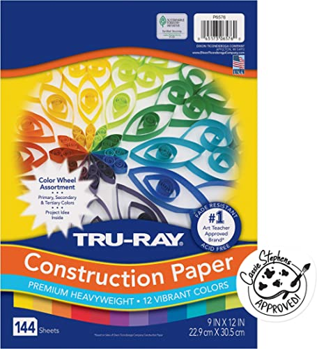"""Tru-Ray Color Wheel Construction Paper, 9""""x12"""", Assorted 144 per Pack"""