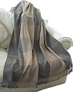 EE Ella Ember 100% Alpaca Wool Luxury Plaid Blanket Throw - Ethically Produced - Handmade - Washable (Beige - Grey)